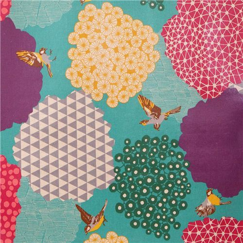 blue kalmia echino Canvas laminate fabric bird bush
