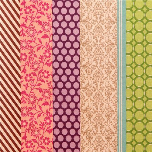 pipi echino Canvas laminate fabric beige green flower dot