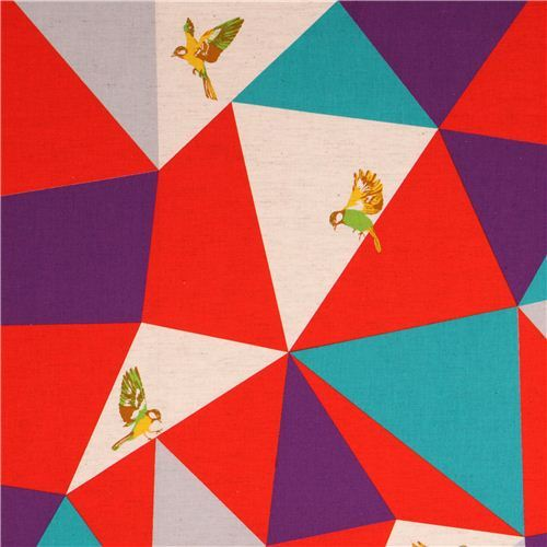 wide mosaic echino poplin fabric red bird triangle
