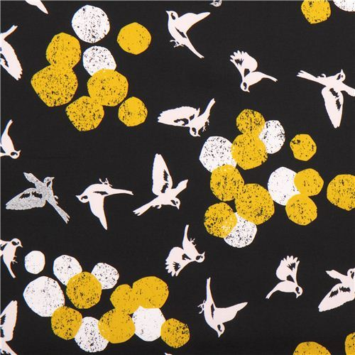 black soaring bird echino Decoro cotton sateen fabric