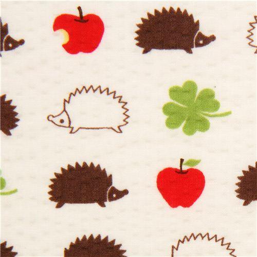 white hedgehog seersucker Poplin fabric Cosmo Japan