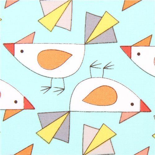 aqua bird animal fabric Michael Miller Birds of a Feather