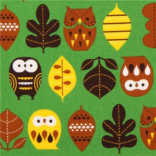 green owl oxford fabric by Cosmo from Japan