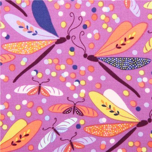 purple butterfly animal fabric Helen's Garden Michael Miller
