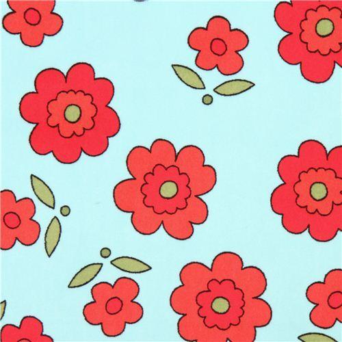 turquoise flower minky fabric fleece plush Floret USA
