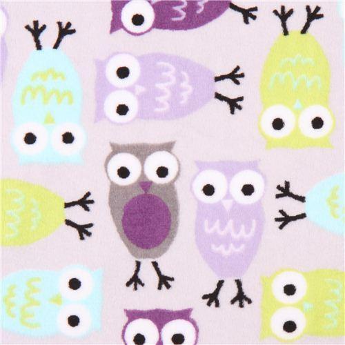 violet owl minky fabric fleece plush Robert Kaufman