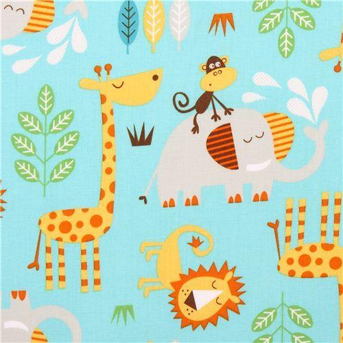 turquoise Safari animal fabric by Northcott Studio