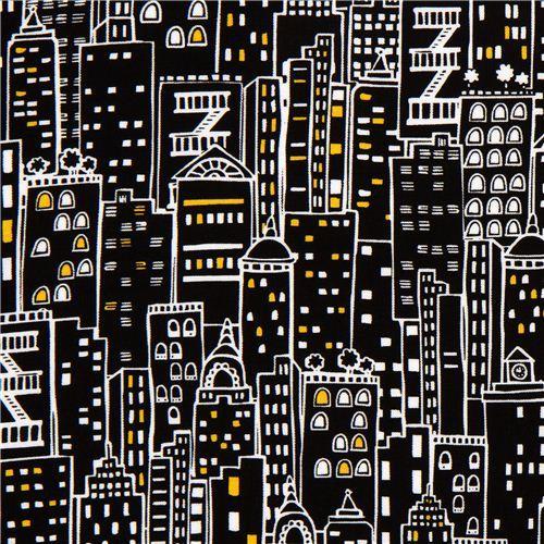 black designer fabric with city skyscraper New York