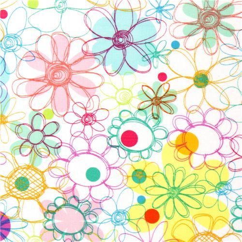 white flower laminate designer fabric daisy USA