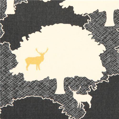 dark grey forest stag animal canvas organic fabric birch USA