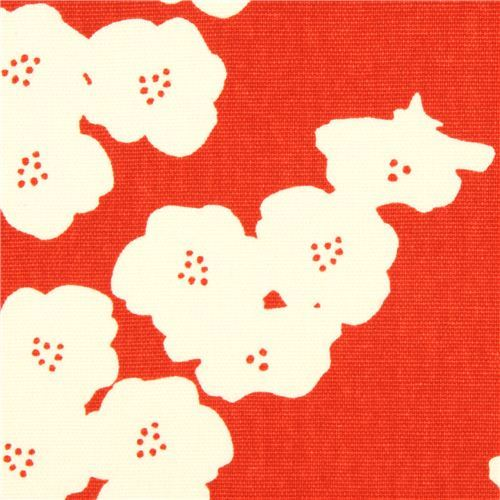red poppy flower canvas organic fabric birch USA