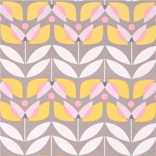 grey monaluna tulip flower organic fabric tulip