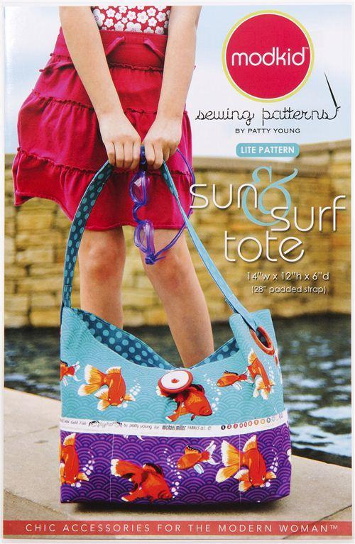 Modkid handbag lite sewing pattern Sun & Surf Tote