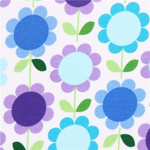 Robert Kaufman purple-blue flower Jersey knit fabric
