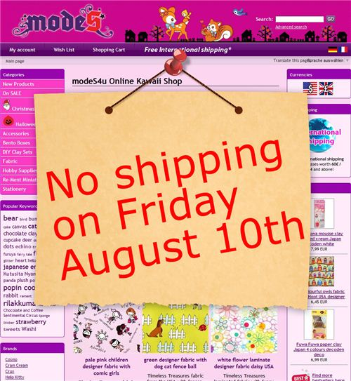 No shipping tomorrow, August 12th 2012