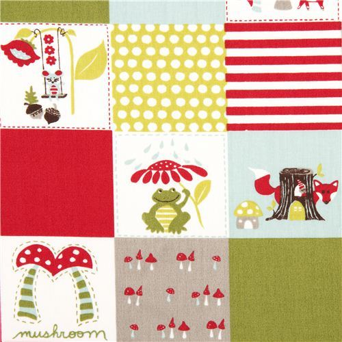 white monaluna organic fabric patchwork squares fox frog