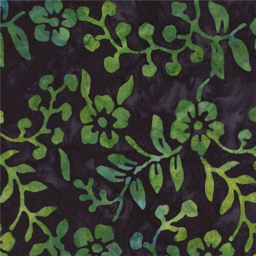 dark purple tie dye green flower batik fabric by Timeless Treasures