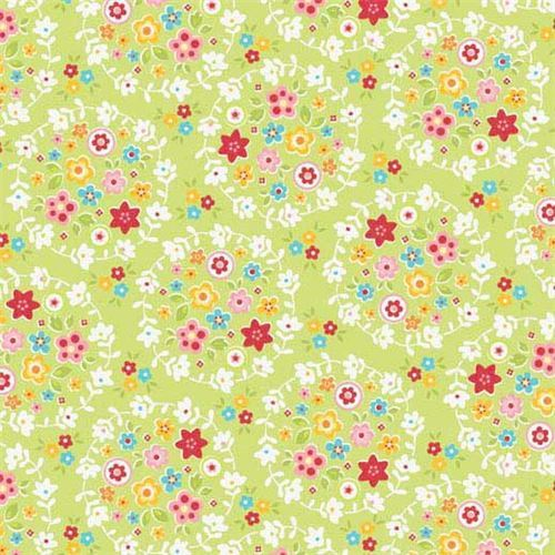 lime green Riley Blake small colorful flower leaf white flower circle fabric