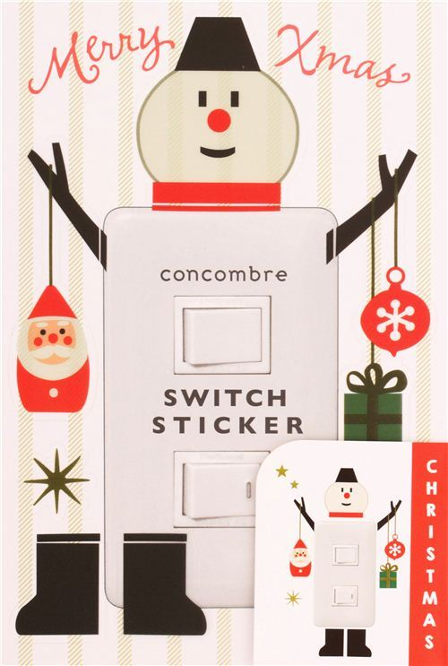 snowman Christmas wall and light switch stickers