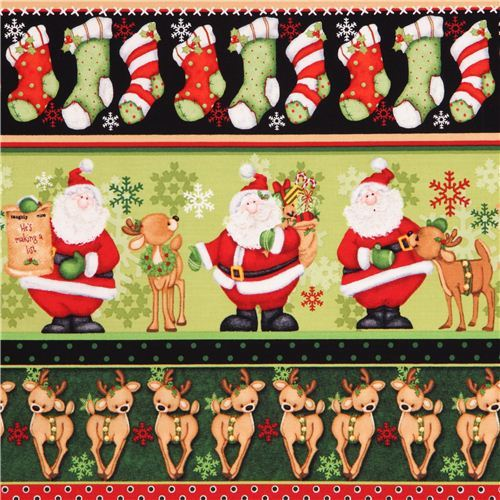 cute green reindeer Santa Claus ice crystals stripe winter Christmas fabric