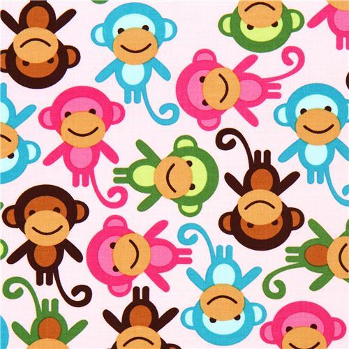 pink fabric with colourful monkeys Robert Kaufman