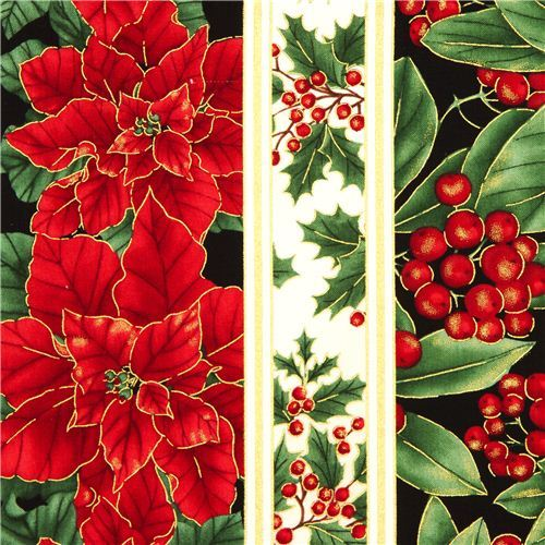 cream designer Christmas fabric poinsettia mistletoe
