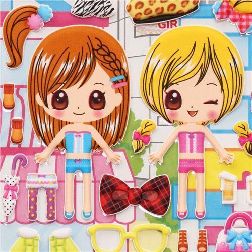 modern city girls dress up doll puffy sponge stickers