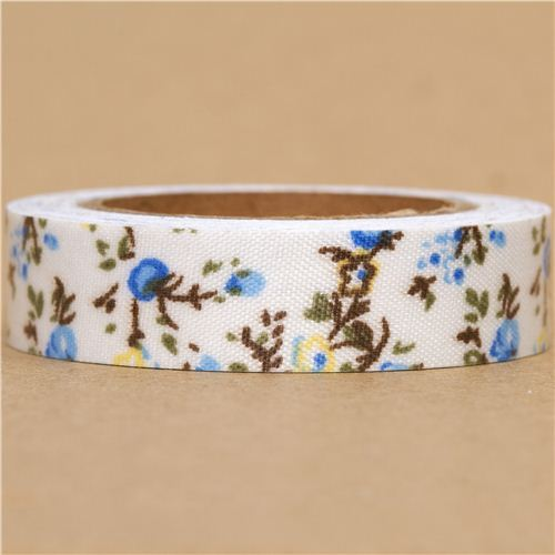 white Fabric Deco Tape with blue & yellow flowers