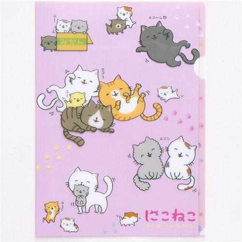 happy cats A4 plastic file folder paw print