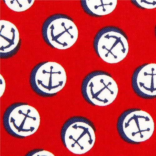 red Timeless Treasures sailor fabric with anchors USA
