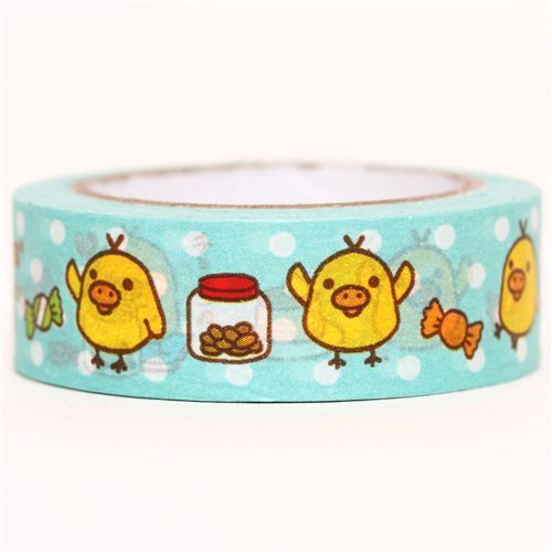 blue Rilakkuma yellow chick Washi Masking Tape