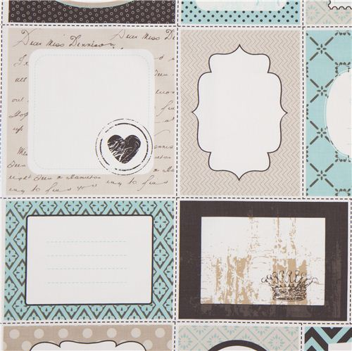 turquoise Riley Blake patchwork label fabric USA