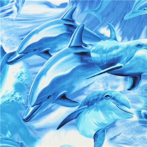 blue dolphin animal fabric by Timeless Treasures