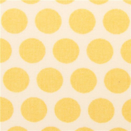 ecru birch organic fabric from the USA yellow dots