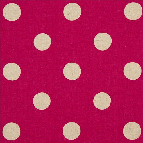 pink echino polka dot poplin fabric maruco