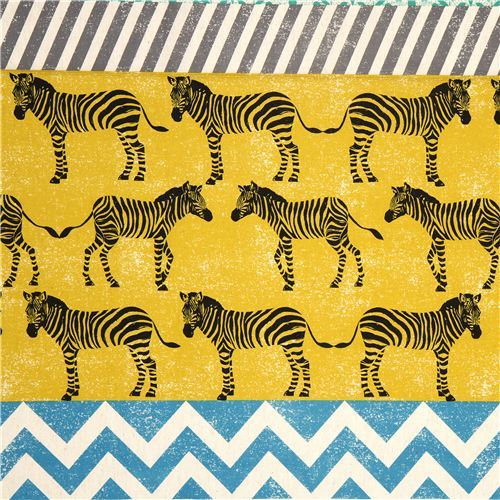 echino canvas fabric yellow zebras & stripes Japan