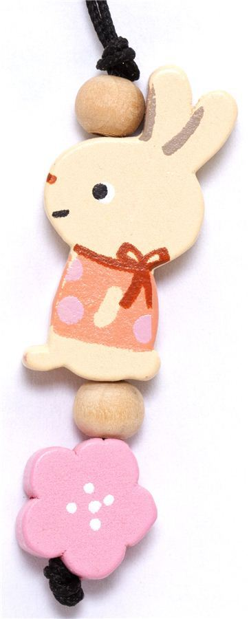 little beige bunny wooden phone strap