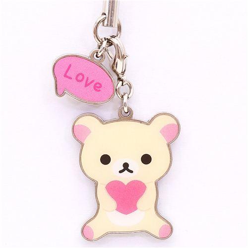 Rilakkuma white bear lucky charm love cellphone strap