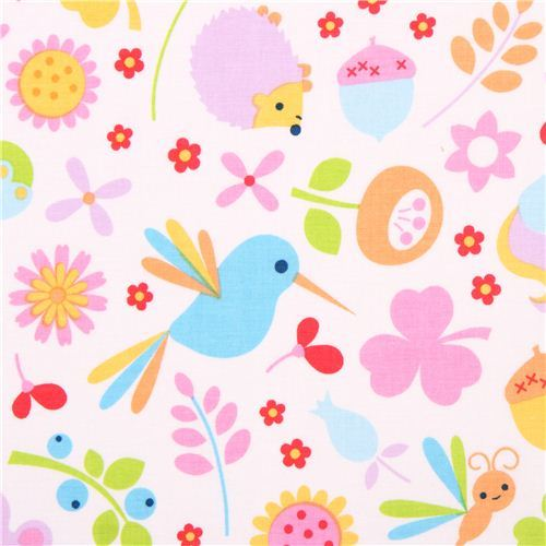 white Riley Blake animal forest fabric Wildflower Meadow