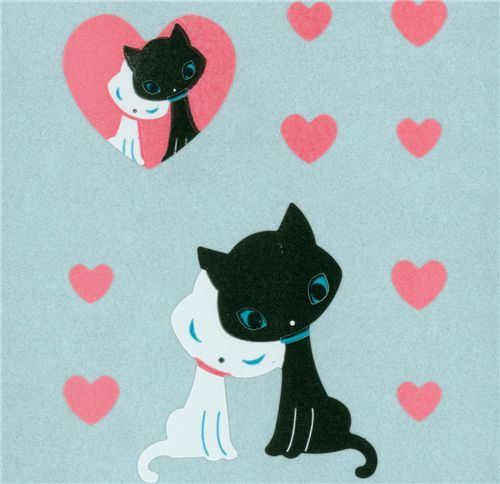 cute kitty couple sticker with pink hearts