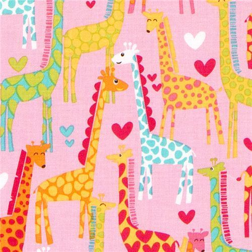 pink Michael Miller fabric Giraffe Love heart