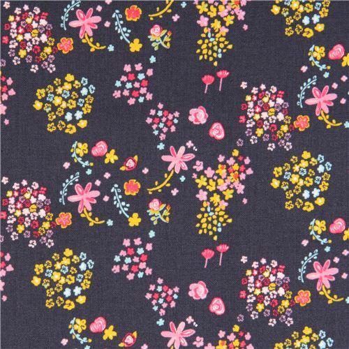 dark grey-purple cute flower fabric by Kokka