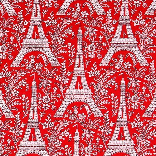 red Paris Eiffel Tower flower fabric Michael Miller Petite Paris
