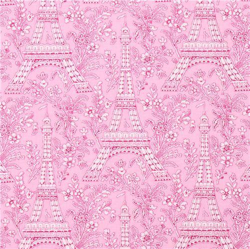 rose Paris Eiffel Tower flower fabric Michael Miller Petite Paris