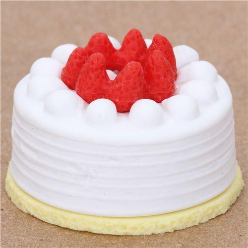 white strawberry cake eraser from Japan by Iwako