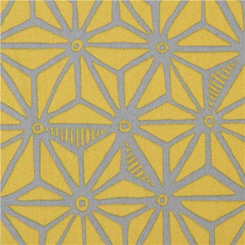 green-brown Robert Kaufman fabric grey star shape Psychedelia