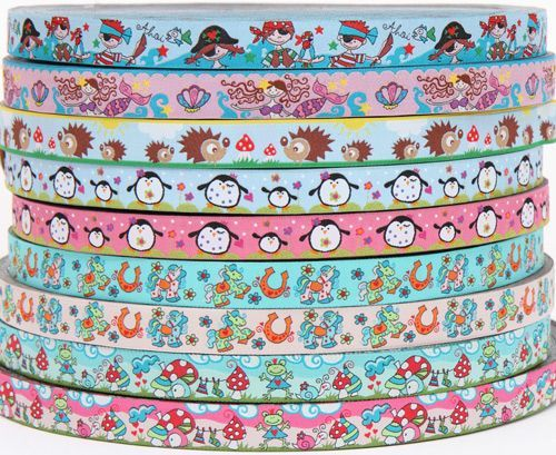 So cute! ribbons with hedgehogs, penguins, frogs, ponies and more