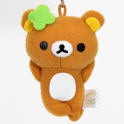 San-X Rilakkuma plush charm brown bear cloverleaf