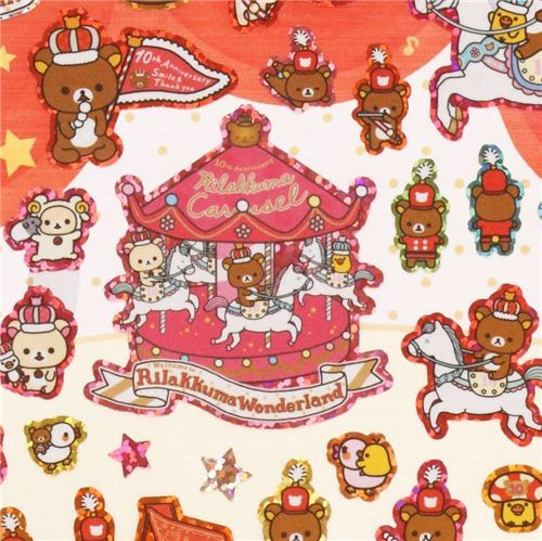 Rilakkuma Wonderland bear band carousel glitter stickers