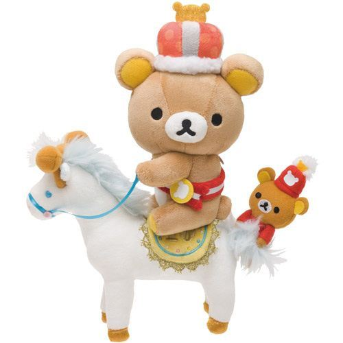 Rilakkuma Wonderland brown bear on horse plushie San-X